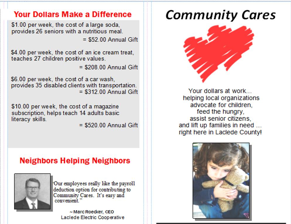 Payroll Deduction Form – Lebanon Area Foundation / Community Cares